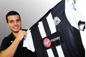 Newcastle United: defender Steven Taylor displays Virgin Money-sponsored shirt