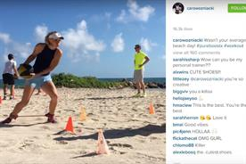 Caroline Wozniacki: trains on the beach with Adidas