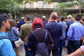 DevArt: Steve Vranakis addressing the crowd at the Barbican (taken with Google Glass)