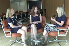 Sarah Lawson Johnston (left) and Tracy Fry (centre) of Mediaocean talk women in tech to Samantha Edwards