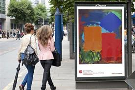 Art Everywhere: a mock-up on a bus shelter depicts one of the 25 shortlisted artists' work