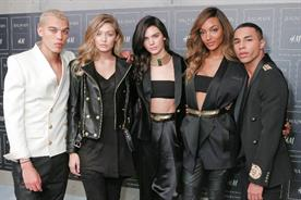 H&M: Balmain's Olivier Rousteing (right) with BFFs including Kendall Jenner (centre)
