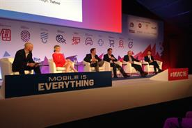 Ad-blocking: a fiery debate raged at MWC between (l-r) AOL's Allie Kline, Nestle's Pete Blackshaw, Google's Benjamin Faes, Yahoo's Nick Hugh and Shine's Roi Carthy