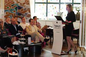 Newsworks' Vanessa Clifford presenting the industry's first Tablet Project