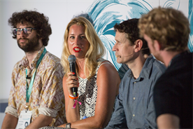 The panel (l-r) Sam Poullain, Sille Opstrup, Bruce Daisley and Tom Ollerton