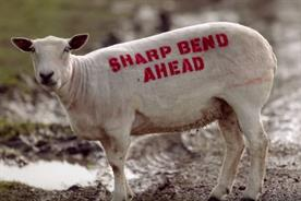 Sheep are transformed into billboards to help cut traffic deaths