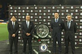 Chelsea FC: Jose Mourinho with his customary cheer on the Yokohama shirt deal