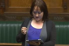 Labour's Twitter Tsar Kerry McCarthy with iPad in House of Commons