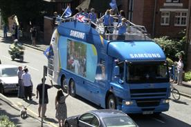 The Samsung tour bus: on the Olympic torch relay route