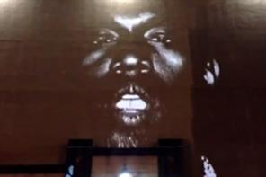 Projection Advertising behind Kanye West album stunt