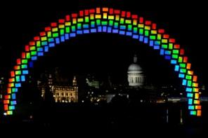 In pictures: Samsung creates 'midnight rainbow' on South Bank