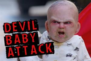 Vomiting infant terrorises NYC in devil-baby movie viral