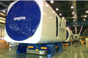 A nacelle at Vestas' Brighton factory in Colorado