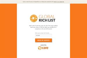 Care International juxtaposes GlobalRichList with The Sunday Times Rich List
