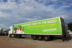 Paddy Power drives 'immigrant lorry' around Calais in latest stunt