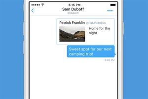 Twitter adds message button to tweets