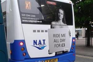 Dozens of complaints made over 'ride me all day' bus ad