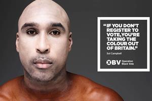 Black stars turn skin white in Operation Black Vote campaign