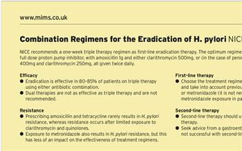 Updated MIMS summary of H. pylori treatment regimens