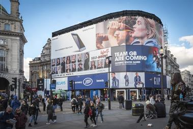 L'Oréal and Team GB join Samsung and Coke on temporary Piccadilly Circus outdoor banner