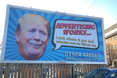 Trump billboard urges businesses to invest in outdoor advertising