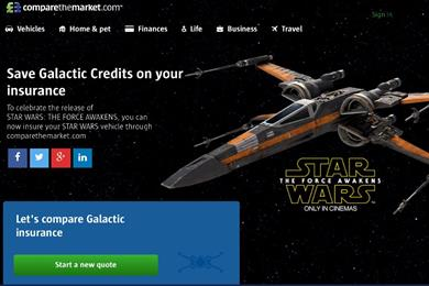 Comparethemarket.com gives Star Wars fans quotes on X-Wings and TIE fighters