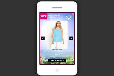Very.co.uk mobile ad push promotes products based on local weather