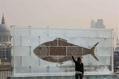 Birds Eye freezes real cash in giant ice billboard stunt