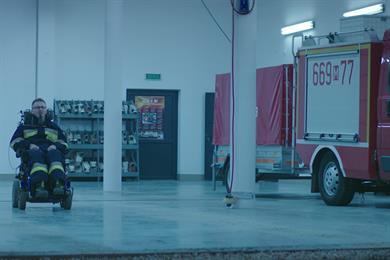 Polish public service ad imagines disabled firefighting crew