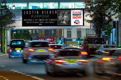 Justin Bieber songs played on Capital radio to sync with digital billboards