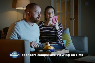 Fray Bentos sponsors ITV4 with telly addict idents