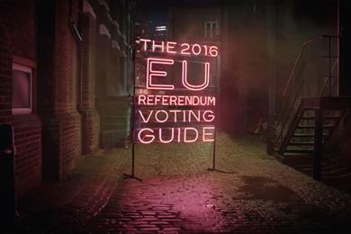 Electoral Commission's pink neon sign ads remind voters to get educated on Brexit