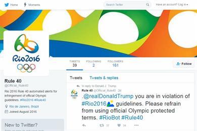 Twitter pulls fake Olympics 'Rule 40' account