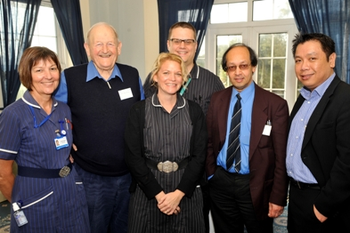 Kent proactive care team: (from left) Nurse Cynthia Wanstall, John Kidson, community matron Claire Morgan, Dan Westland, Dr Joe Chaudhuri and Dr Tuan Nguyen