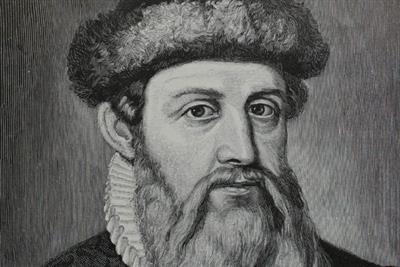 History of advertising: No 130: Johann Gutenberg's printing press