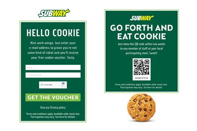 Subway campaign offers cookies for cookies