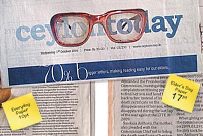 Notes from Sri Lanka: Local papers respect elders with larger font