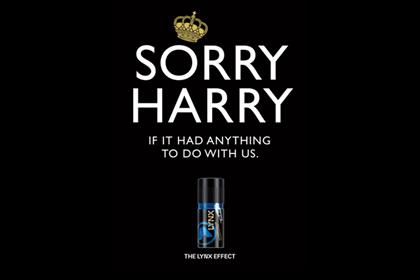 Lynx's tactical ad referring to Prince Harry's Las Vegas exploits in August