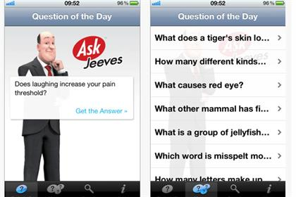 Ask Jeeves: search engine launches its first iPhone trivia app in the UK