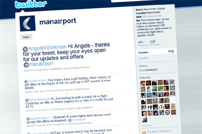 Manchester Airport's Twitter page