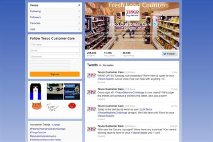 Tesco's Twitter page