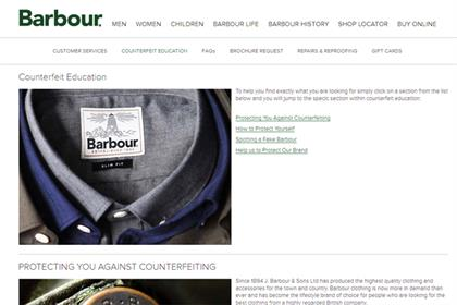 Barbour ups its counterfeit educaton content in battle against fakes