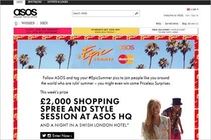 Asos: offers prizes for best pictures depicting #EpicSummer