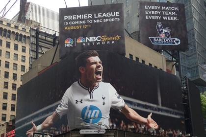 NBC poster of Tottenham's Gareth Bale at Times Square in New York
