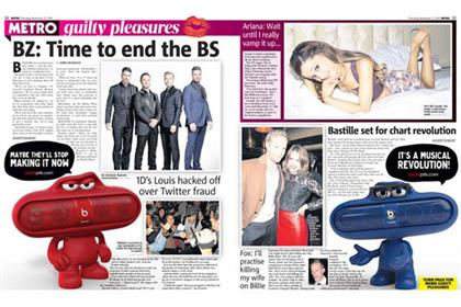 Metro newspaper: partners with Beats by Dre for the UK launch of Pills speakers