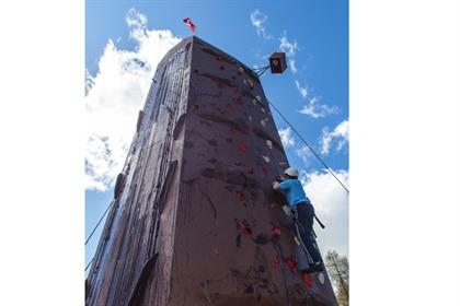 A 32-foot chocolate-based climbing wall