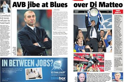 Metro: Blinkbox runs ad around Chelsea's sacking of Roberto Di Matteo