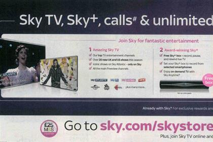 Sky: ASA bans print ad