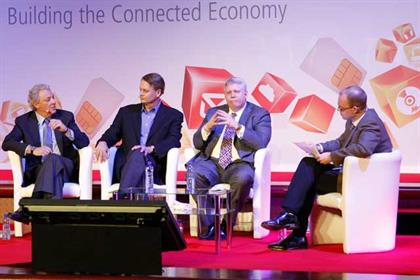 Mobile World Congress 2012 l-r Michael Roth, John Donahoe, Brian Dunn, Ben Wood