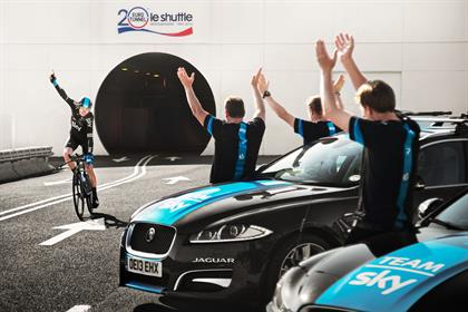 Chris Froome: finishes his Eurotunnel route ride in Jaguar/Team Sky promotion